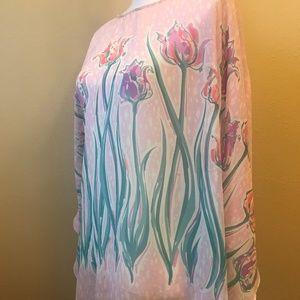 Bob Mackie Sheer Floral Poncho Top